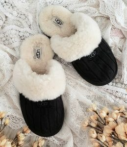 UGG Cozy Cable Knit Shearling Sheepskin Slippers